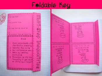 Multi-Step Inequalities Foldable, INB, Practice, & Exit Ticket