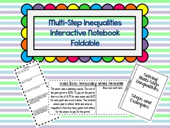Multi-Step Inequalities Interactive Notebook Foldable