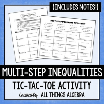 Multi-Step Inequalities Notes and Partner Activity