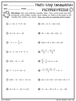 Multi-Step Inequalities Picture Puzzle by ChiliMath - Algebra and More