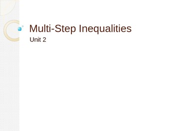 Multi Step Inequalities Powerpoint