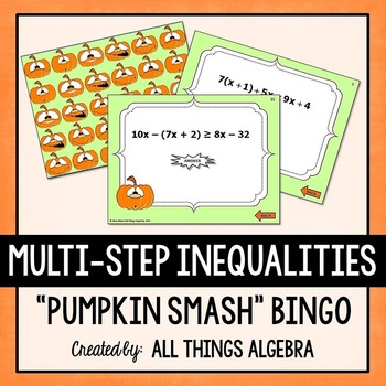 Multi-Step Inequalities Pumpkin Smash Bingo