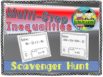 Multi-Step Inequalities Scavenger Hunt