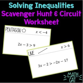 Multi-Step Inequalities Scavenger Hunt (w/ circuit ws for absent students)