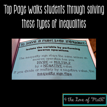 Multi Step Inequalities: Solving & Graphing Interactive Foldable Page