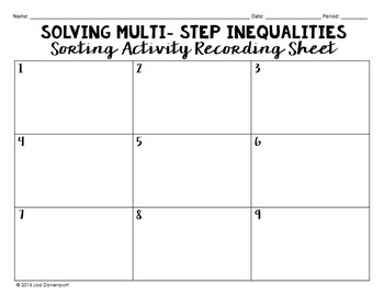 Multi-Step Inequalities (Sorting Activity)