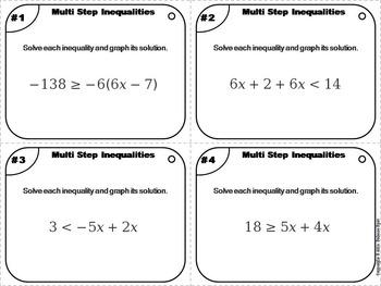 Multi Step Inequalities Task Cards 6 to 8th Grade