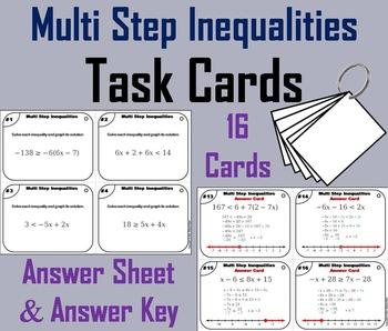 Multi Step Inequalities Task Cards 6 to 8th Grade