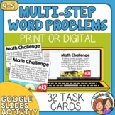Math Word Problem Task Cards, Multi-Step Math Stories, Story Problems (Set 1)