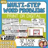 Math Word Problem Task Cards, Multi-Step Math Stories, Story Problems (Set 1)