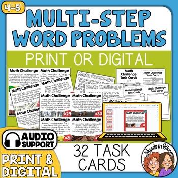 Math Word Problem Task Cards | Multi-Step Math Stories | S