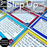 Multi Step Math Word Problems 3rd Grade | Task Cards | Spiral Review