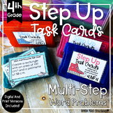 Multi-Step Math Word Problems BUNDLE 16 SETS Test Prep Task Cards 4th Grade