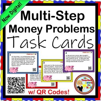 Multi-Step Money Problems - 20 Task Cards w/ QR Codes!