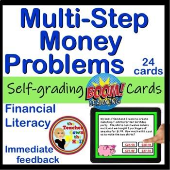 Multi-Step Money Problems BOOM Cards - 20 digital task cards!