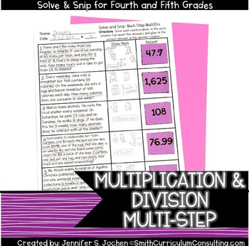 Multi Step Multiplication and Division Problems | Solve and Snip® |  TEKS 5.4b