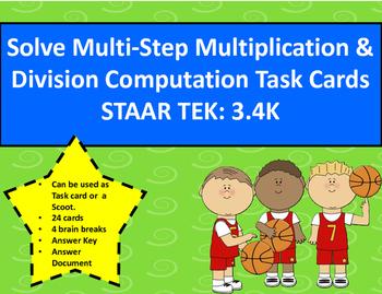 3.4K Multi-Step Multiplication & Division Computation Task Cards STAAR