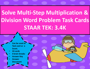 Multi-Step Multiplication & Division Word Problem Task Car