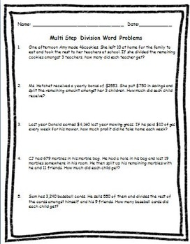 Multi Step Multiplication & Division Word Problems