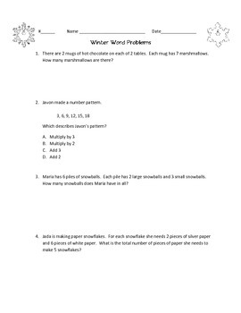 Multi Step Multiplication Winter Word Problems