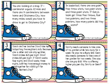 Multi Step Multiplication and Division Word Problems | Task Cards | TEKS 5.4b