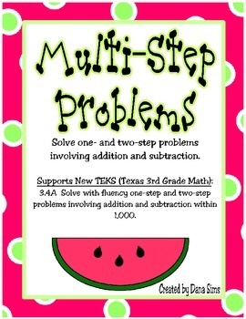 Multi-Step (Multistep) Problems: New TEKS (Texas 3rd Grade Math)