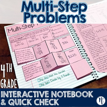 Multi-Step Problem Solving Interactive Notebook Activity & Quick Check TEKS 4.4H