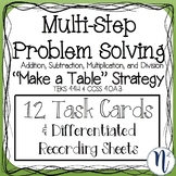 """Multi-Step Problem Solving """"Make a Table"""" Strategy 12 Task Cards"""