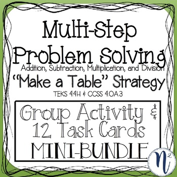 "Multi-Step Problem Solving ""Make a Table"" Strategy Task Cards"