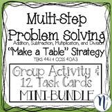 """Multi-Step Problem Solving """"Make a Table"""" Strategy Task Cards"""