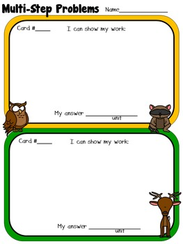Multi-Step Problem Solving Task Cards 3rd 4th Grade