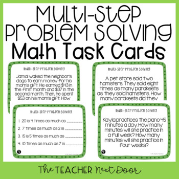 4th Grade Multi-Step Problem Solving Task Cards