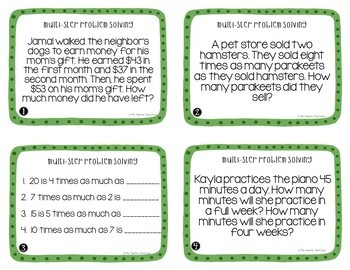 4th Grade Multi-Step Problem Solving Task Cards