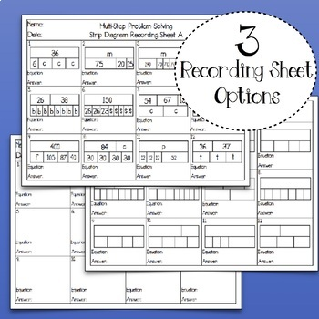 Problem Solving with Strip Diagrams: Matching Activity & Task Cards Mini-Bundle