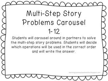 Multi-Step Story Problems Task Cards