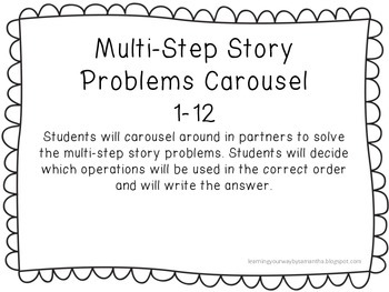 Multi-Step Story Problems Task Cards