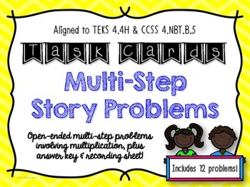 Multi-Step Story Problems Task Cards {TEKS 4.4D & 4.4H}