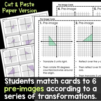 Multi Step Transformations Activity, Card Sort