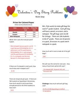 Multi-Step Valentine's Day Story Problems
