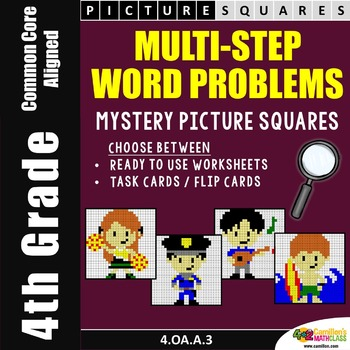 Multistep Word Problems (4th Grade) Coloring Worksheets