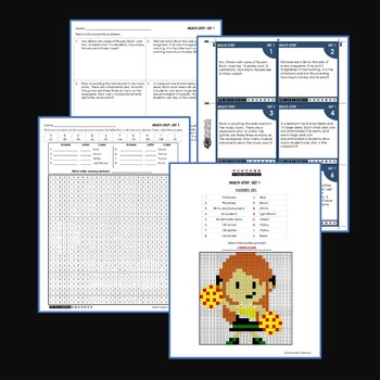 Word Problems, 4th Grade Multi Step Word Problems Coloring Worksheets