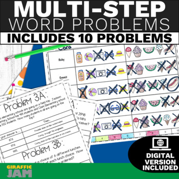 Multi Step Word Problem Activity 4th and 5th Grade No Prep with Answer Key