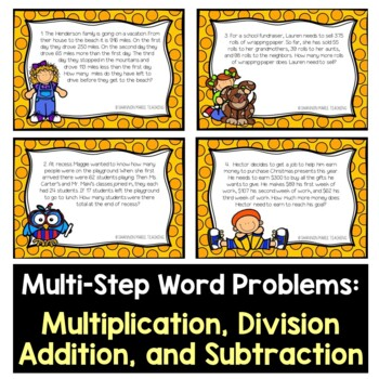 Multi-Step Word Problem Task Card BUNDLE