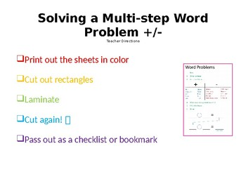 Multi-Step Word Problem Bookmark