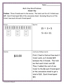 Multi-Step Word Problem Freebie 3.OA.8