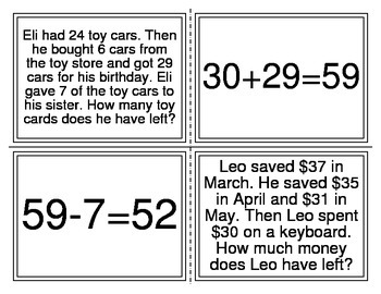 Multi-Step Word Problem Number Sentence Matching Activity