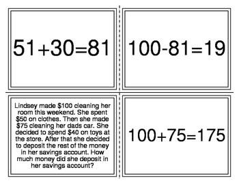 Multi-Step Word Problem Number Sentence Matching Activity (TEK 2.4C) (Level 2)