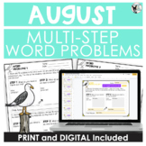 Multi-Step Word Problem Practice August Theme