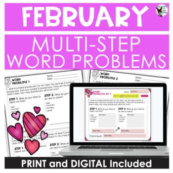 Multi-Step Word Problem Practice February Theme