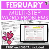 Multi-Step Word Problem Practice February Theme